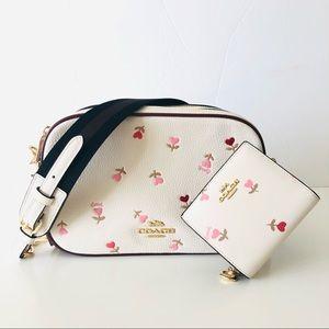 Coach Jes Heart Floral White Purse Wallet Set